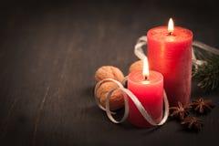 Kerstkaart met kaarsen Stock Afbeelding
