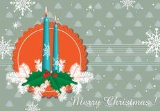 Kerstkaart met kaarsen Stock Afbeeldingen