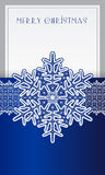 Kerstkaart met kant uitstekende sneeuwvlok Stock Fotografie