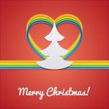 Kerstkaart met Kerstboom Stock Foto