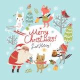 Kerstkaart met Kerstman en leuke karakters Stock Afbeelding