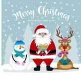 Kerstkaart met Kerstman, sneeuwman en rendier royalty-vrije illustratie