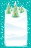 Kerstkaart met Kerstmisbomen Stock Foto's