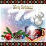 Kerstkaart met kleurrijke decoratie royalty-vrije illustratie