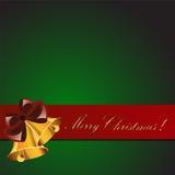 Kerstkaart met klokken Stock Foto