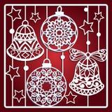 Kerstkaart met klokken voor laserknipsel royalty-vrije illustratie