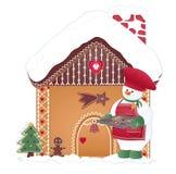 Kerstkaart met koksneeuwman Stock Afbeeldingen