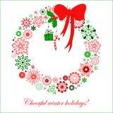 De gestileerde kroon van Kerstmis van sneeuwvlokken Stock Afbeelding