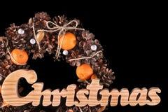 Kerstkaart met kroon geïsoleerde exemplaarruimte Stock Afbeeldingen