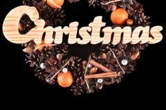 Kerstkaart met kroon geïsoleerde exemplaarruimte Stock Afbeelding