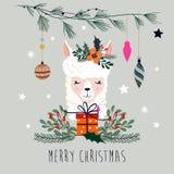 Kerstkaart met lama en seizoengebonden elementen, vectorontwerp stock foto