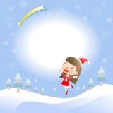 Kerstkaart met leuk meisje Royalty-vrije Stock Foto's