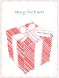 Kerstkaart met Leuke Gift Doodled Royalty-vrije Stock Fotografie