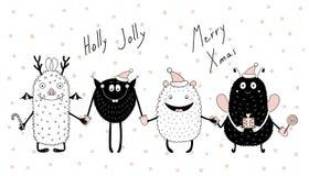 Kerstkaart met leuke grappige monsters stock illustratie