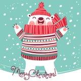 Kerstkaart met leuke ijsbeer Stock Afbeelding