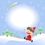 Kerstkaart met leuke jongen Royalty-vrije Stock Afbeelding