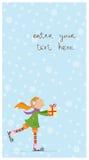 Kerstkaart met leuke meisje ijs-schaatst. Stock Afbeelding