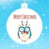 Kerstkaart met leuke uil Vector illustratie eps10 Stock Afbeelding