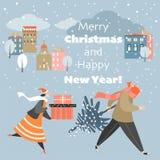 Kerstkaart met mensen die zich met giften op een koude de winternacht haasten vector illustratie