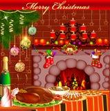 Kerstkaart met open haardkip en pudding Royalty-vrije Stock Afbeeldingen
