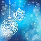Kerstkaart met oriëntatiepuntensymbolen Stock Afbeelding
