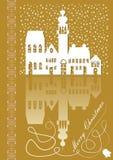 Kerstkaart met oud stads idyllisch wit silhouet op gouden achtergrond royalty-vrije illustratie