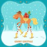 Kerstkaart met paard in cowboyhoed en laarzen Stock Afbeeldingen
