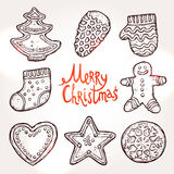 Kerstkaart met Peperkoeken Stock Foto