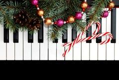 Kerstkaart met piano Royalty-vrije Stock Foto's