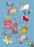 Kerstkaart met Rendieren Royalty-vrije Stock Afbeelding