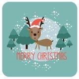Kerstkaart met rendieren Stock Foto