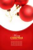Kerstkaart met rode ballen Stock Foto's