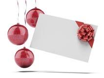 Kerstkaart met rode Ballen Royalty-vrije Stock Afbeeldingen