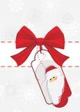 Kerstkaart met rode boog Stock Foto