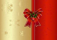 Kerstkaart met rode boog Royalty-vrije Stock Foto's