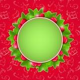 Kerstkaart met Ronde Plaats voor Tekst Royalty-vrije Stock Foto