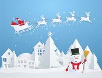 Kerstkaart met Santa Claus die over stad en sneeuwman vliegen vector illustratie