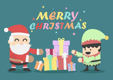 Kerstkaart met Santa Claus en Elf Stock Foto's