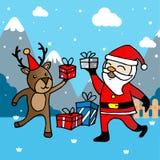 Kerstkaart met Santa Claus en herten Stock Fotografie