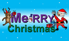 Kerstkaart met Santa Claus, herten en sneeuwman Stock Fotografie