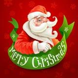 Kerstkaart met Santa Claus op rode achtergrond Royalty-vrije Stock Afbeeldingen