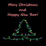 Kerstkaart met slinger op zwarte achtergrond Royalty-vrije Stock Fotografie