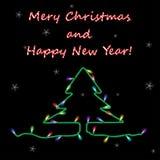 Kerstkaart met slinger op zwarte achtergrond Royalty-vrije Stock Afbeeldingen