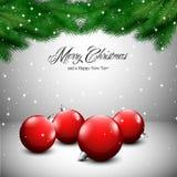 Kerstkaart met sneeuw Stock Foto's