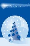 Kerstkaart met sneeuwkoepel en boom Royalty-vrije Stock Foto's