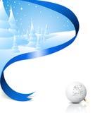Kerstkaart met sneeuwlandschap Stock Foto's