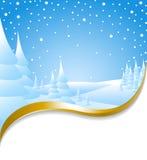 Kerstkaart met sneeuwlandschap Stock Foto