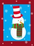 Kerstkaart met sneeuwman Royalty-vrije Stock Foto