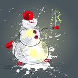 Kerstkaart met sneeuwman Royalty-vrije Stock Fotografie