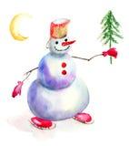 Kerstkaart met sneeuwman Stock Afbeelding